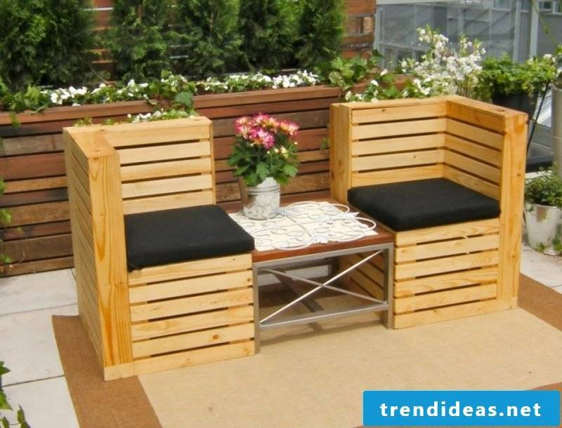 Sofa made of europallets for the terrace