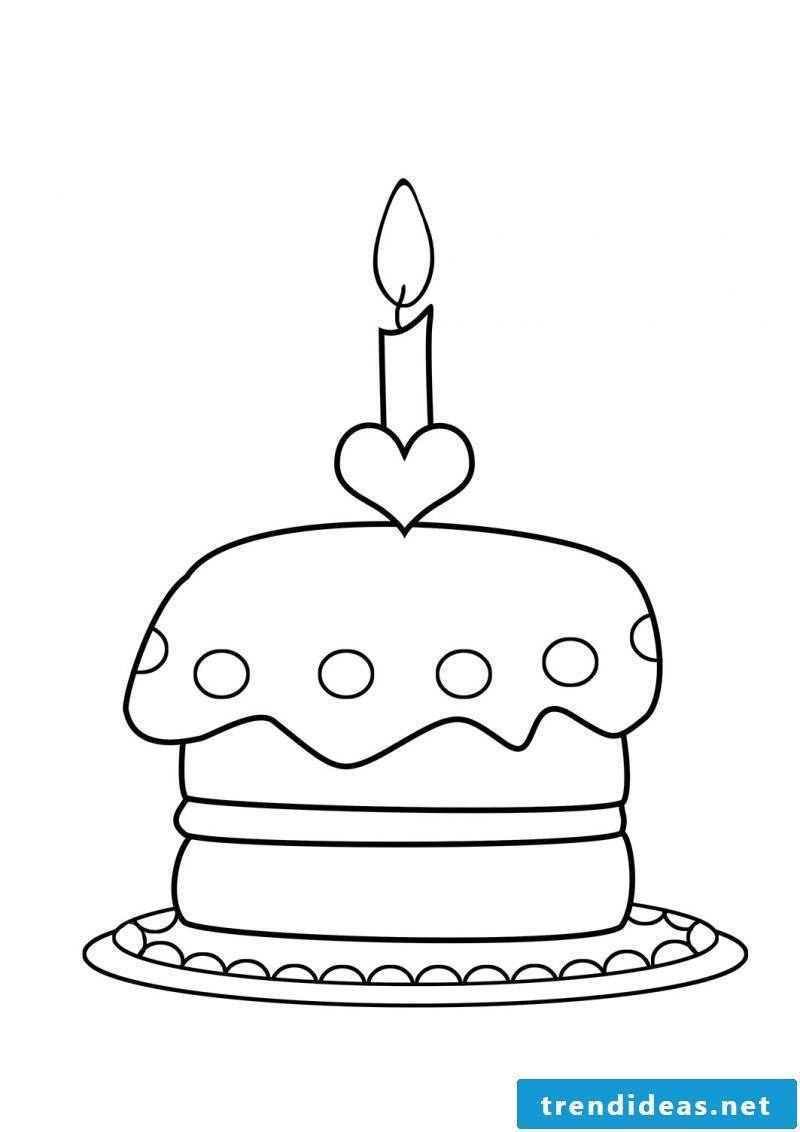 Birthday cakes pictures coloring page