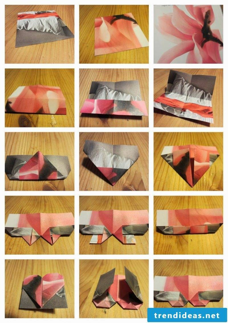 Making bookmarks yourself Folding the heart