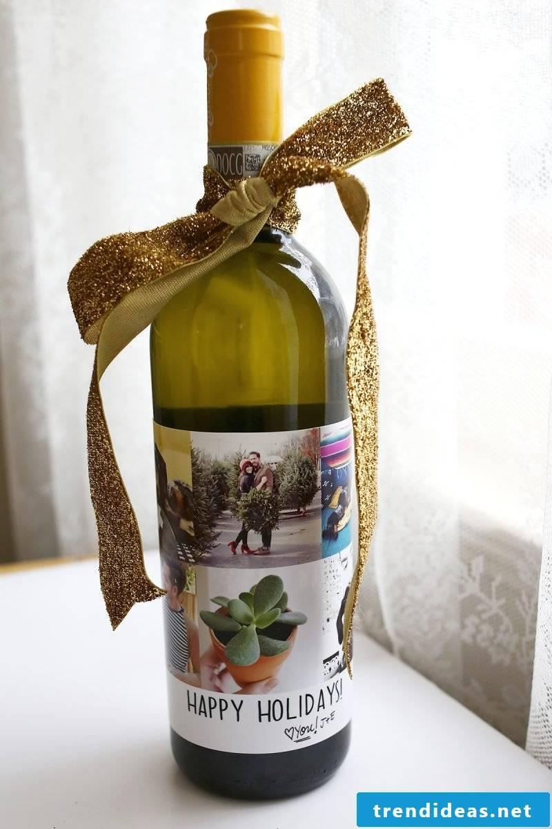 Christmas presents made by yourself - decorate the wine bottle yourself