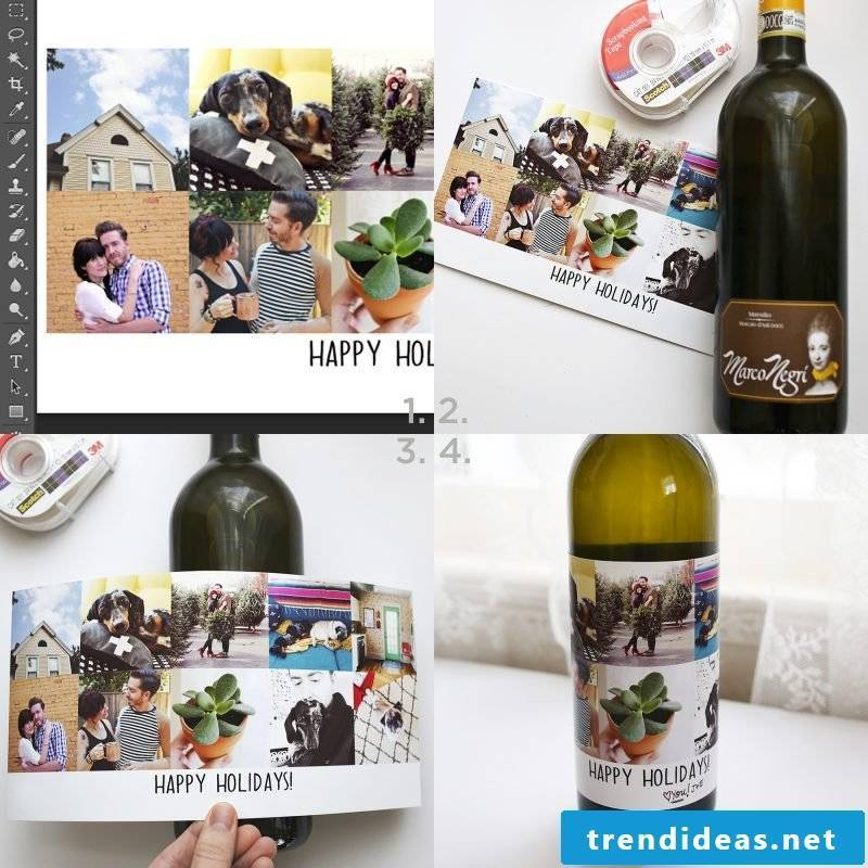 Christmas gifts made by yourself - wine bottle decorating yourself DIY instructions