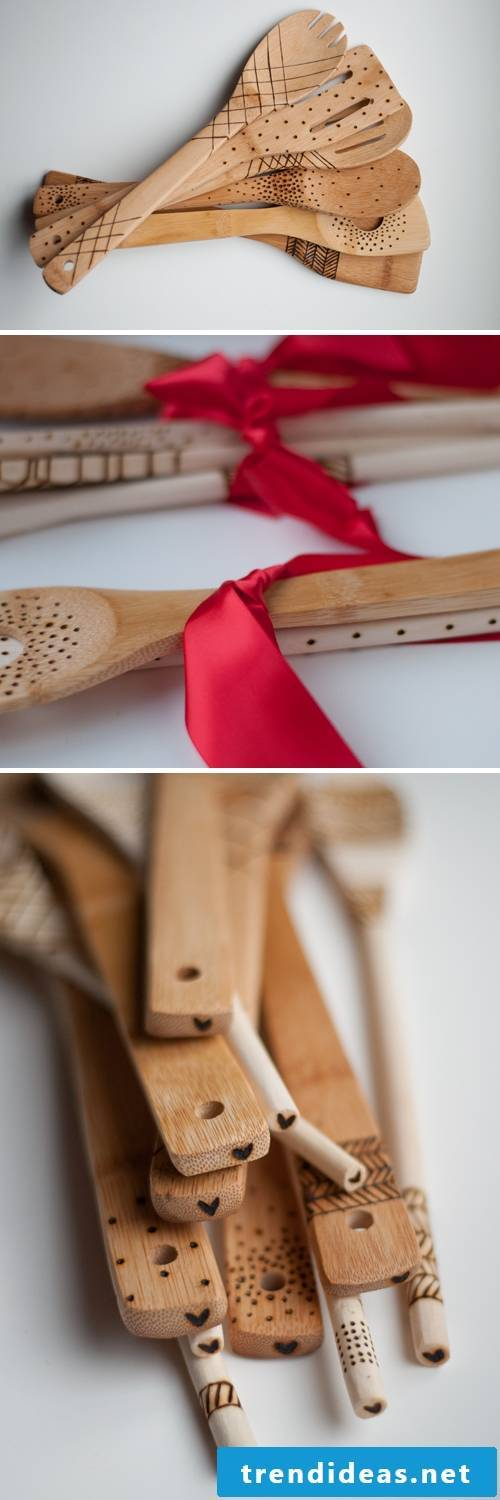 What are you doing to engrave the wooden spoons and make these gifts for daddy yourself