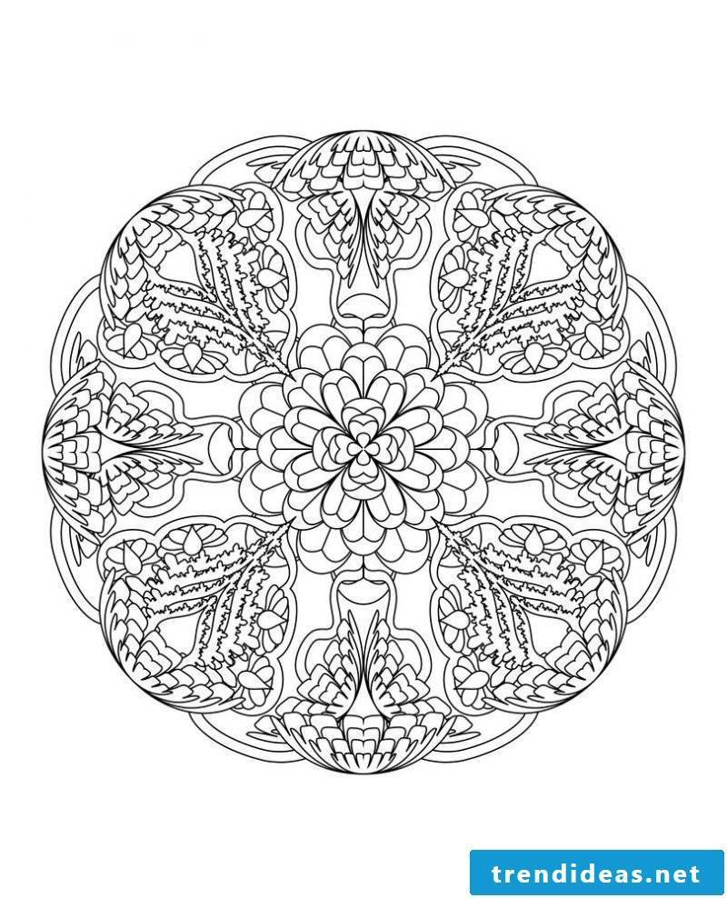 Mandala coloring pictures for free - low difficulty
