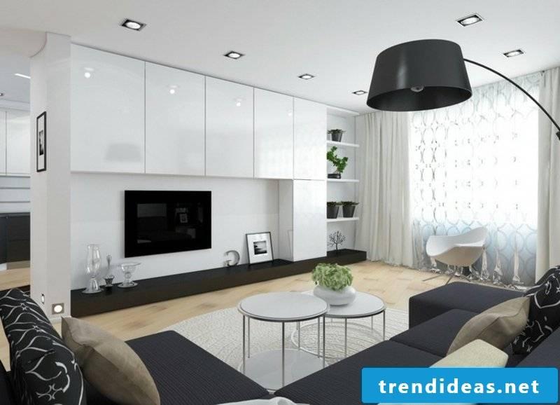 Living room design white and black