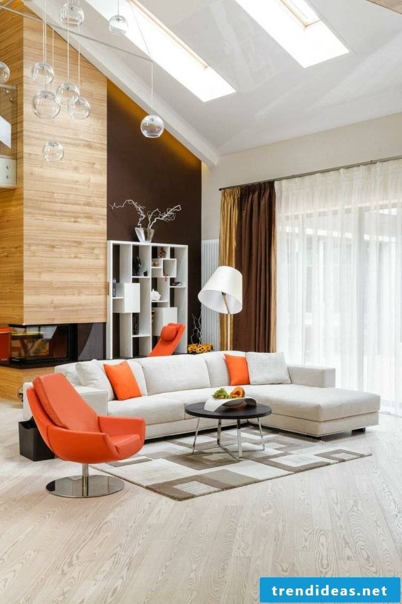 Living room design with orange accents