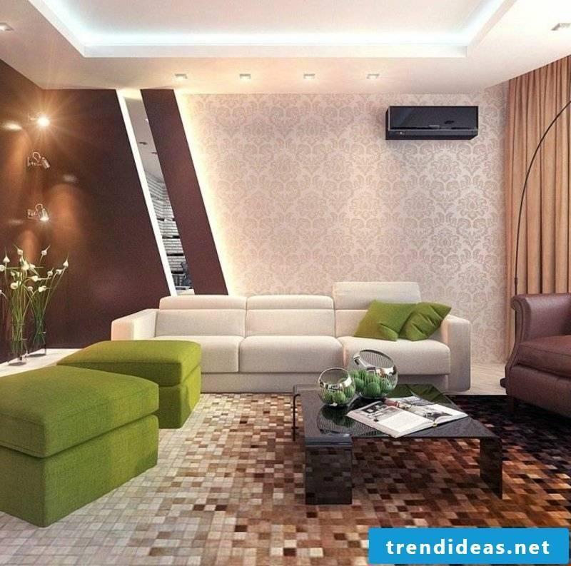 green accents living room design
