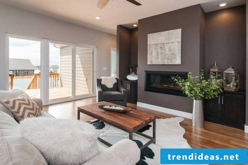 Living room design brown wall paint