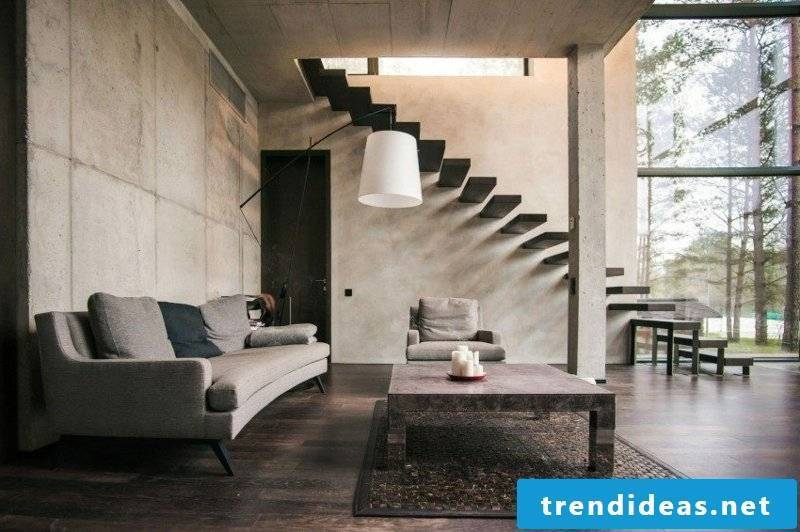 Living room design original staircase