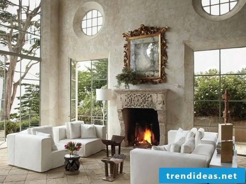 Living room with original mirror