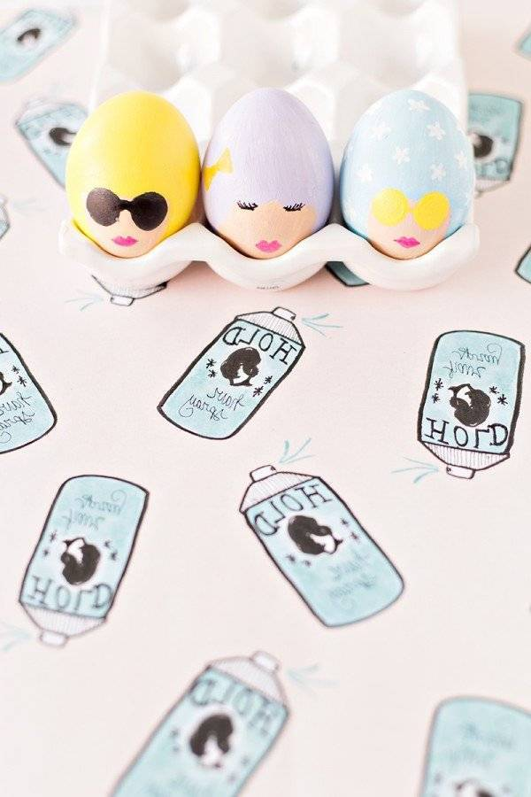 DIY womanly faces on easter eggs