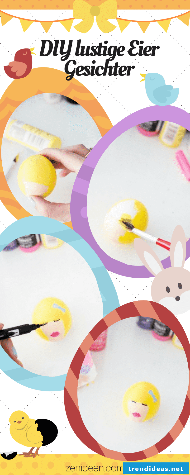 The photo tutorial for these beautiful funny eggs faces