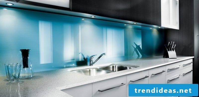 kitchen glass back blue
