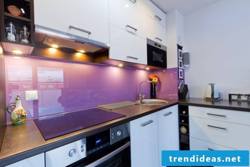 kitchen glass back wall purple