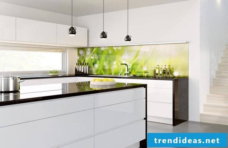 kitchen glass back wall modern