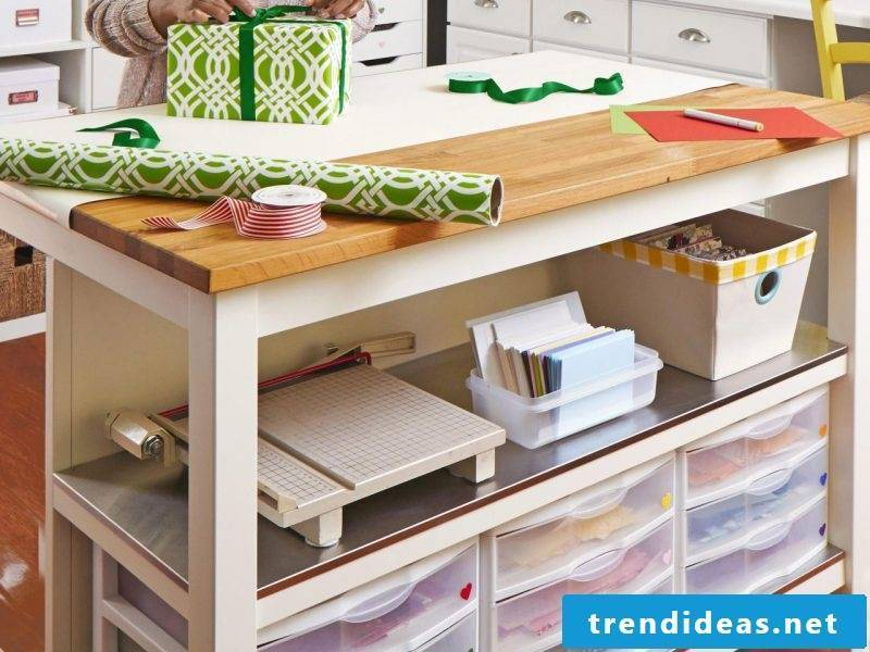 Need some inspiration on how to set up and organize your own workroom?  Then scroll down to get creative ideas!