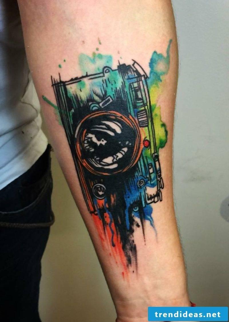 Tattoo watercolor camera