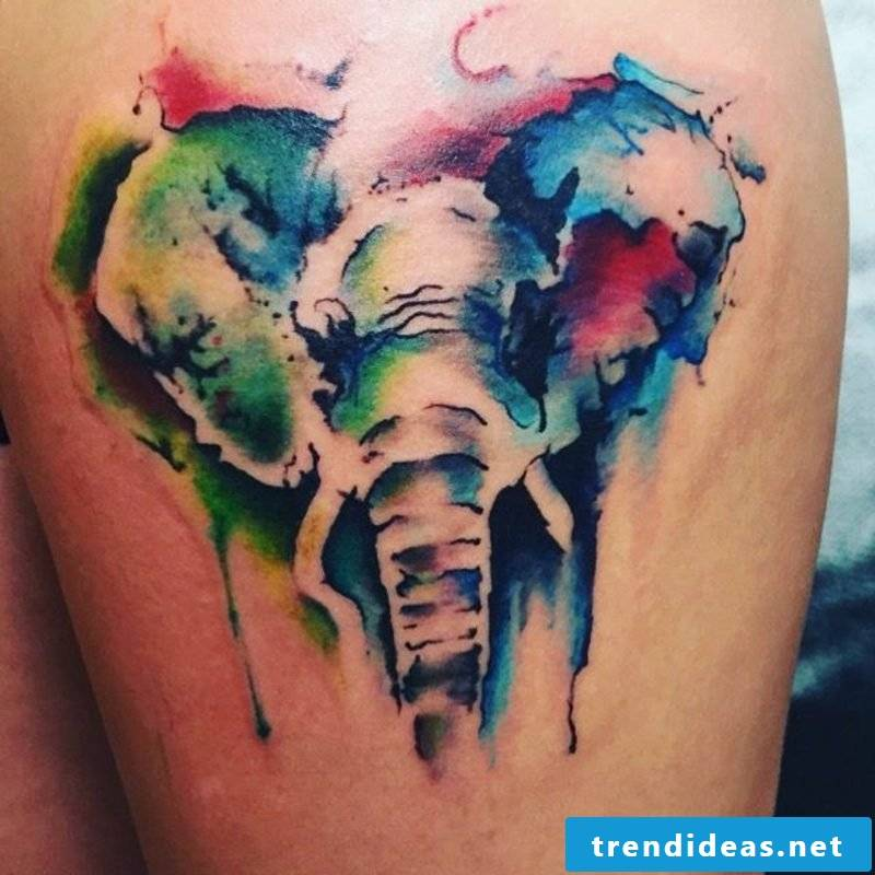 Watercolor tattoo elephant modern look