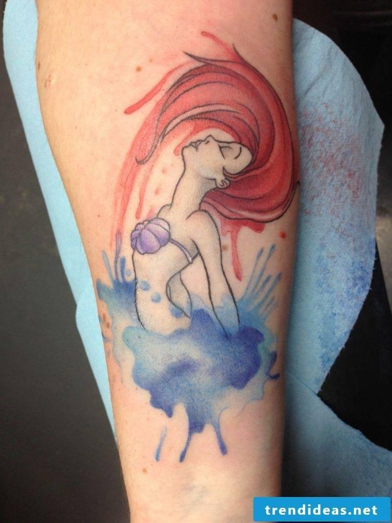 Watercolor modern tattoo mermaid gorgeous look