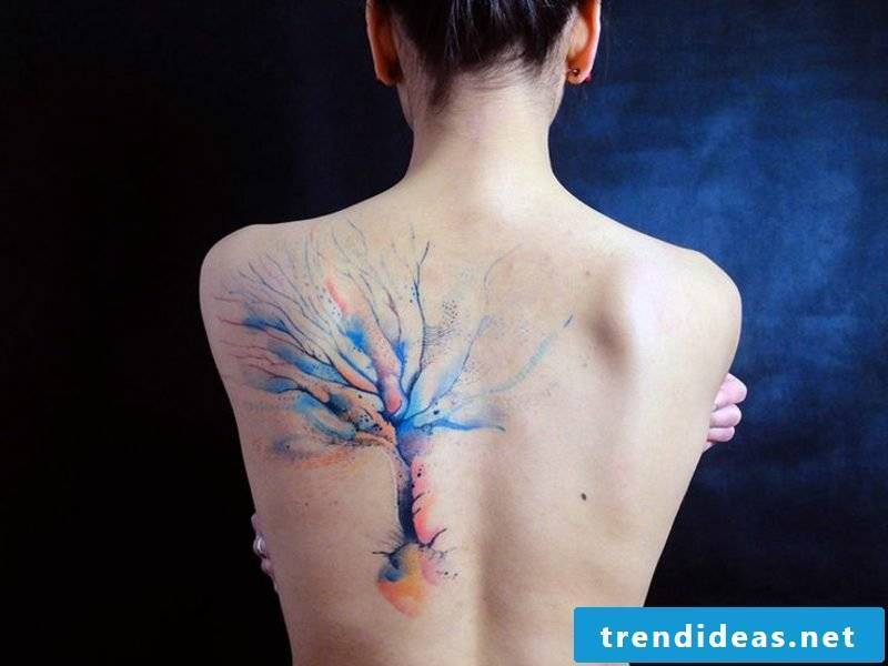 Watercolor tattoo tree on the back