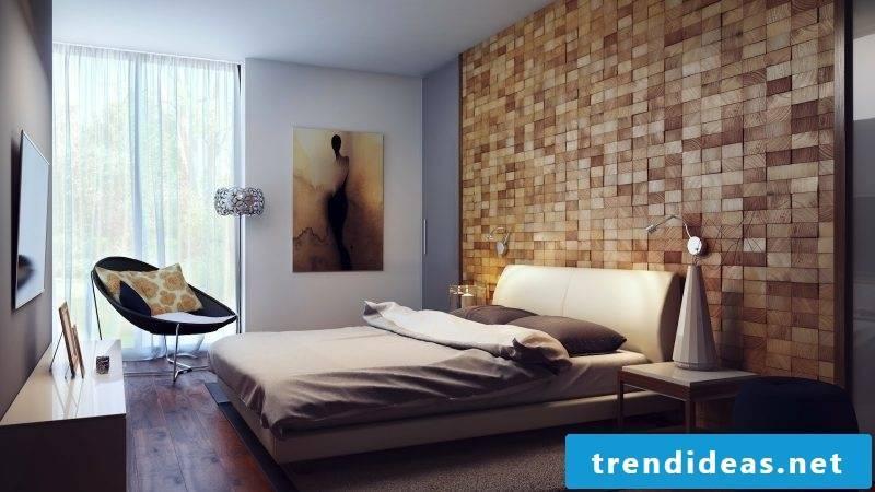 wooden wall paneling bedroom