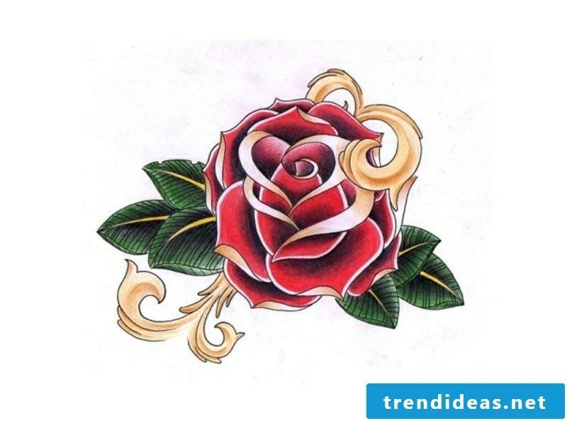 Tattoovorlagen for forearm Rose colored