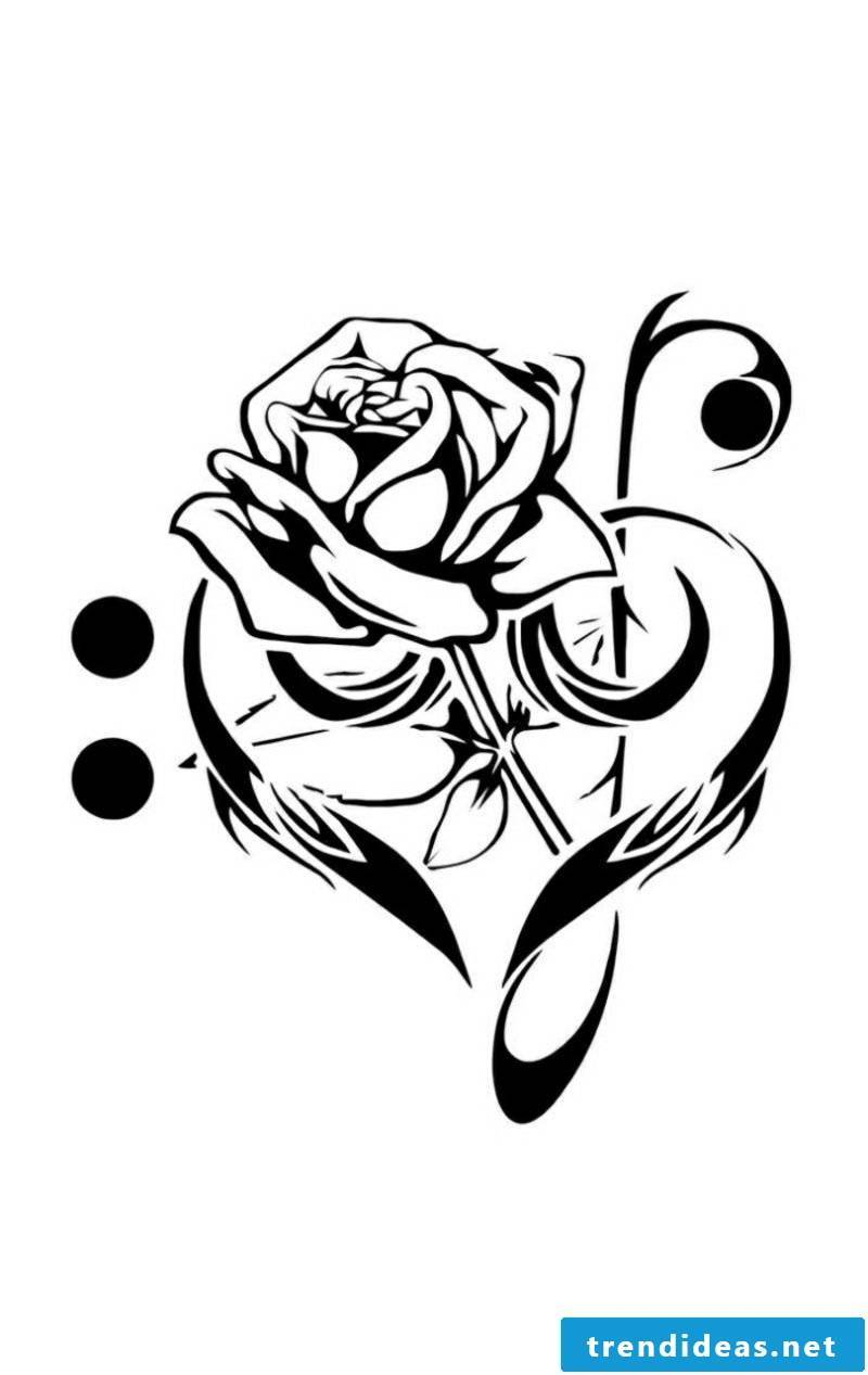 Tattoo templates for forearm rose and clef
