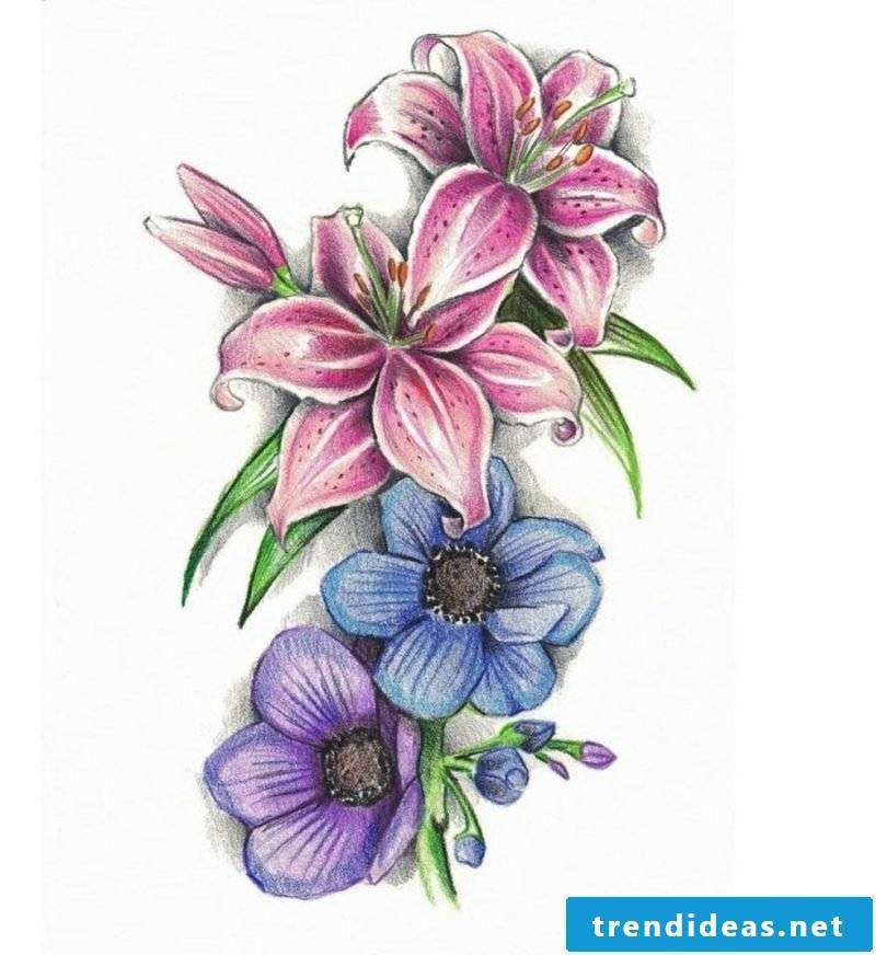 colored flowers Tattoovorlagen for forearm