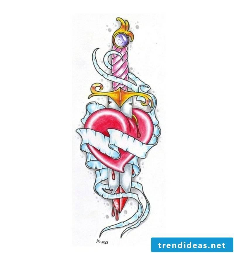 Sword and heart colored Tattoovorlagen for forearm