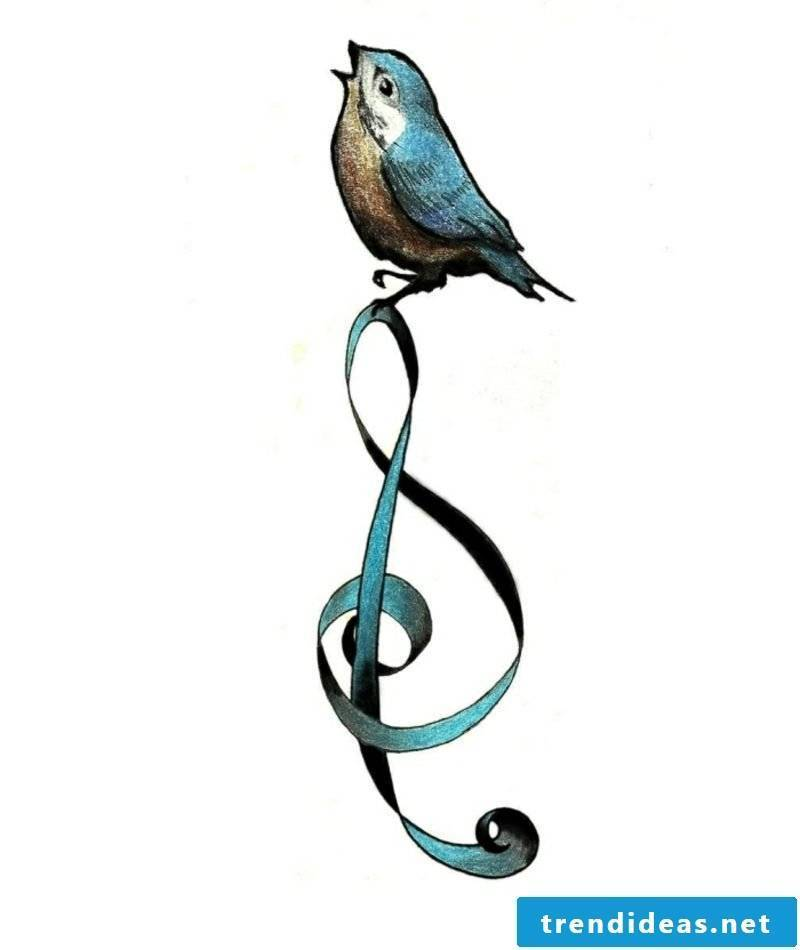 Tattoo template colored sparrow and clef