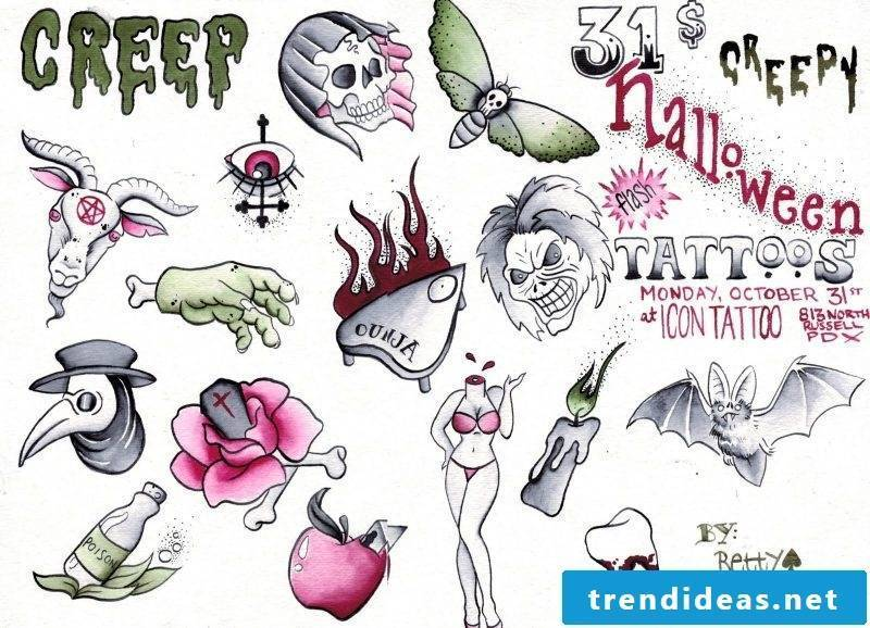 Tattoo template Halloween scary