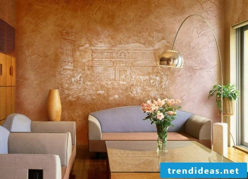 Decorative plaster mural beige and light brown modern