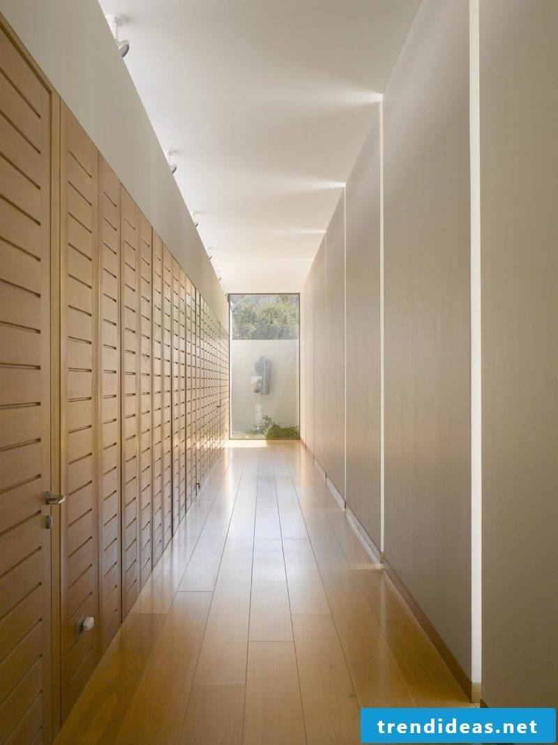 Wood wall covering corridor