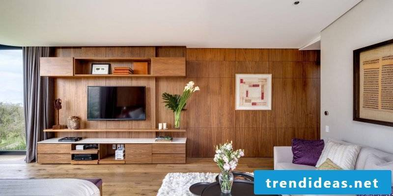 Wood wall covering living room