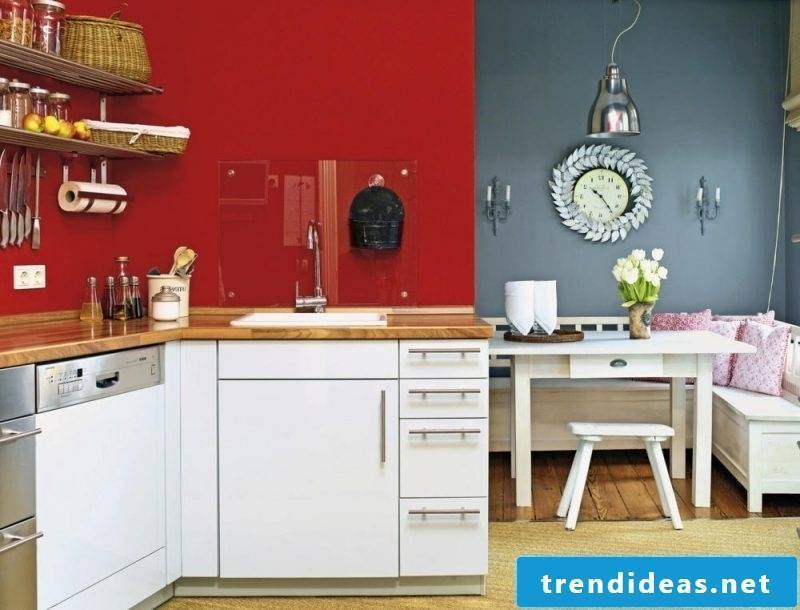 kitchen wall design red