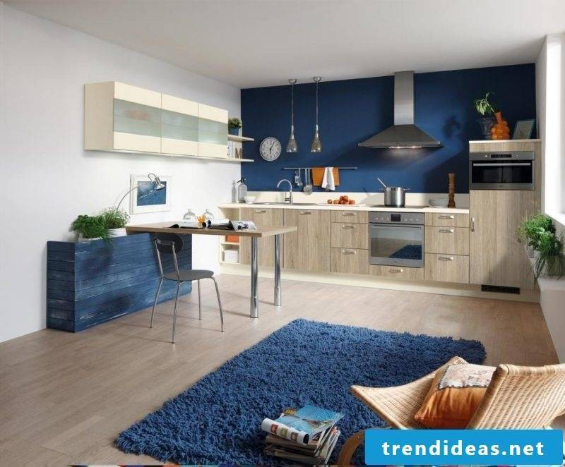 kitchen wall design blue