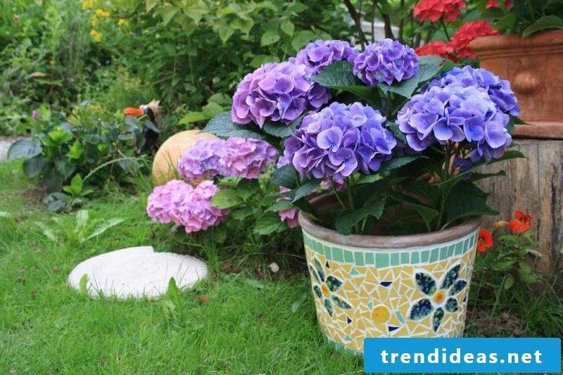 Flower pot with mosaic decoration