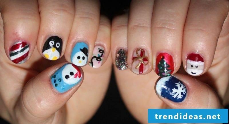 Gel nails pattern Christmas DIY idea