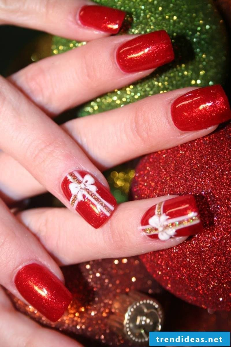 Gel nails pattern - bows