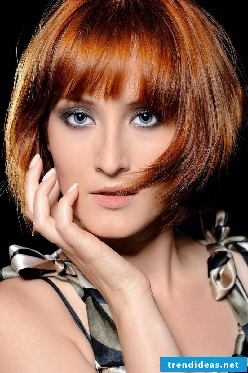 ladies short hairstyles pictures copper red