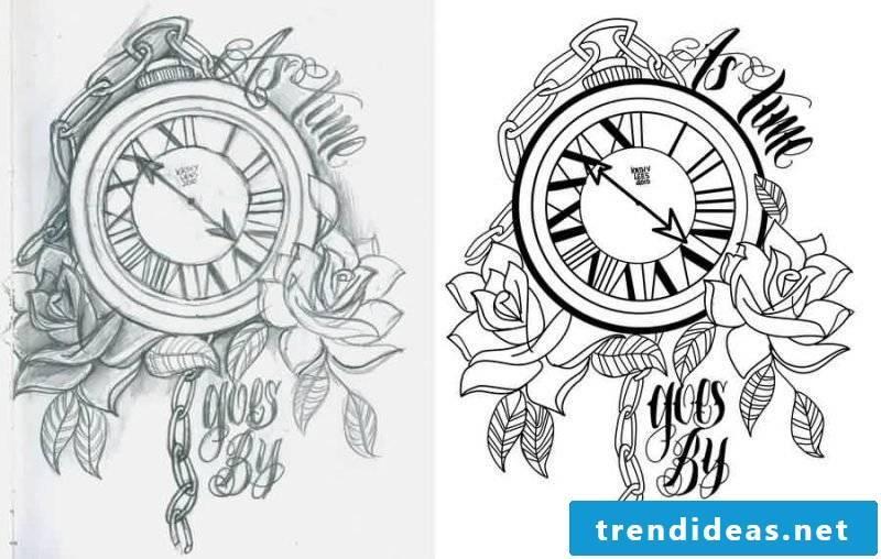 Tattoo templates free watch design