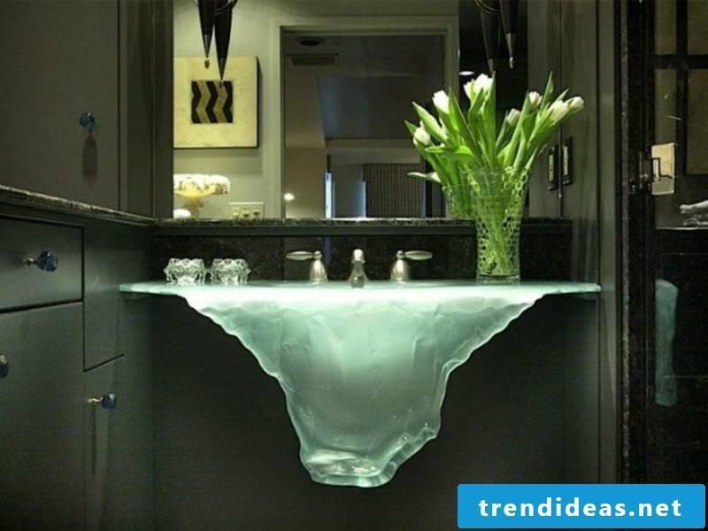 illuminated glass washbasin