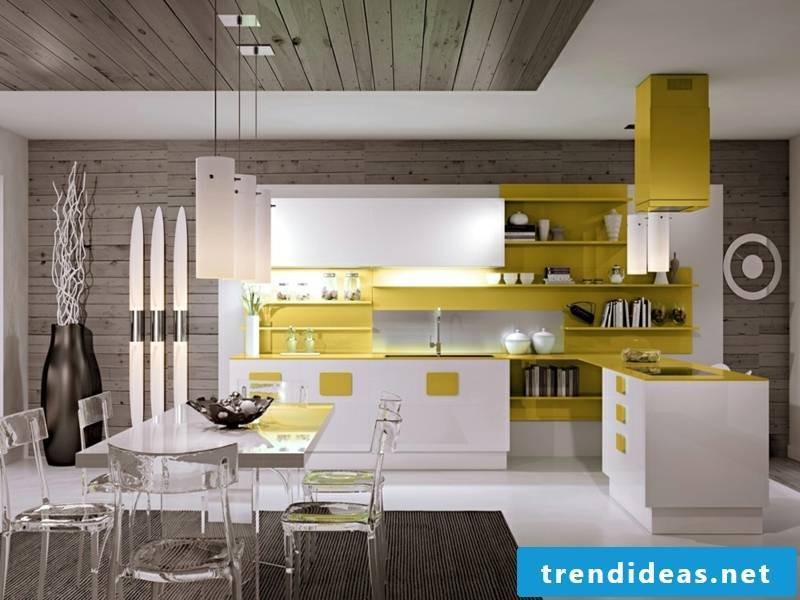 kitchen with yellow accents