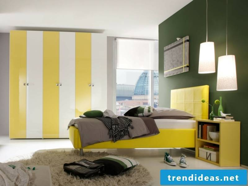 modern bedroom decorated in yellow