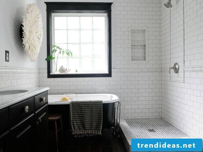 black bathtub in vintage bathroom