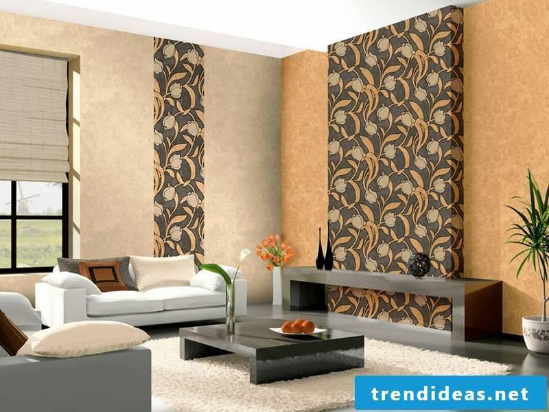 modern wallpaper with orange tulips