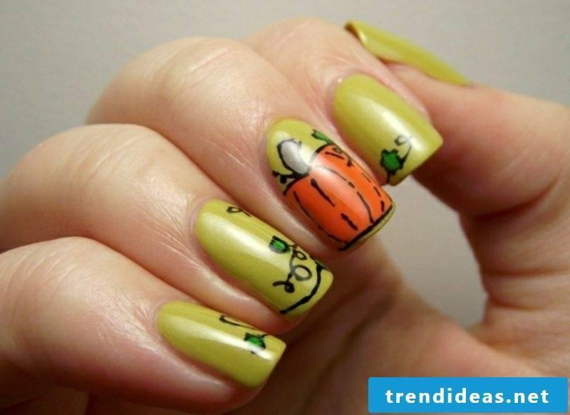 Pumpkins attractive nail design halloween