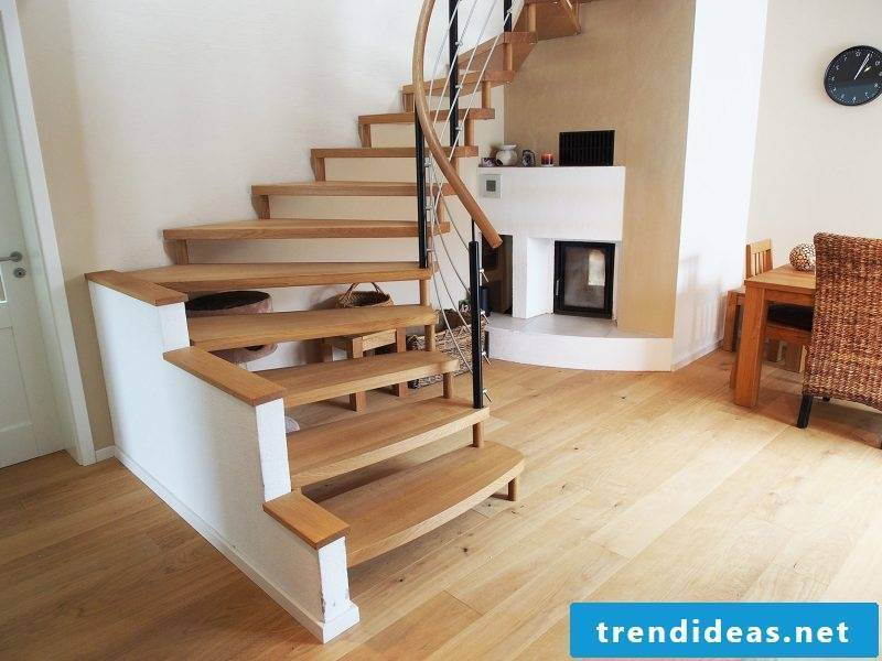 Wooden bolt staircase with stainless steel railing