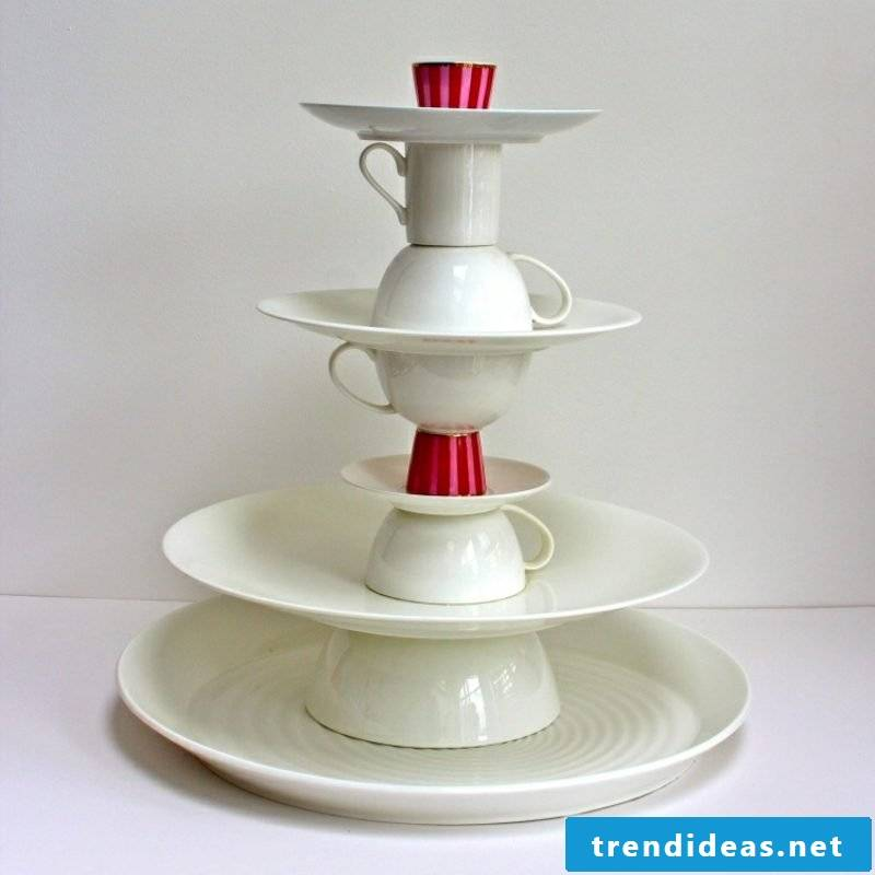 Etagere from plates and cups porcelain