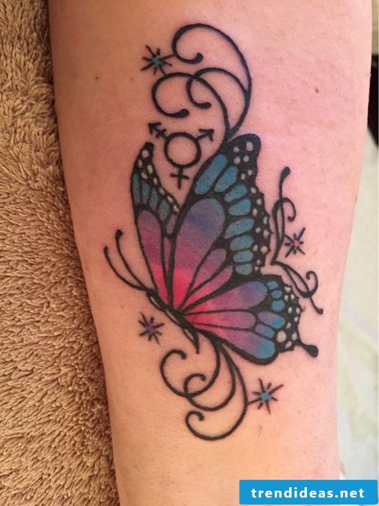 Tattoo butterflies women's back