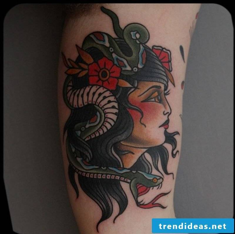 Snakes tattoo with woman